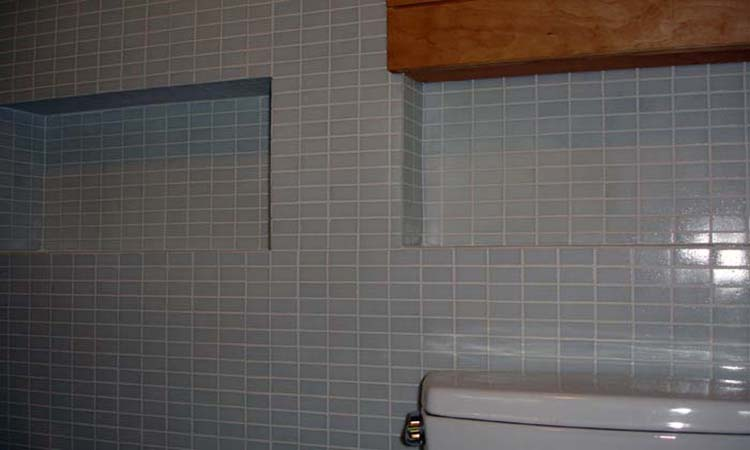 Colored Subway Tile Specialist Handcrafted Cabinetry Custom Design Bathroom Installation Tile Niches Subway Tile Walls
