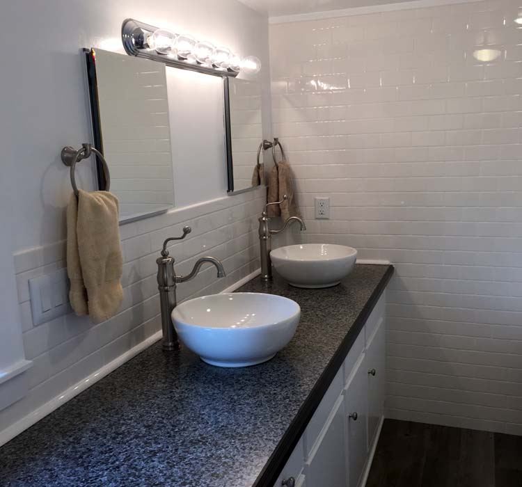Bathroom Renovation Above Counter Sinks Tile Specialists Custom Cabinet Subway Tile Walls