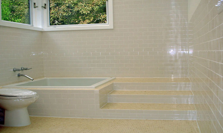 Jacuzzi Tub Subway Tile Bathroom Specially Designed Tile Stairs Bathroom Renovation Custom Tile Specialist