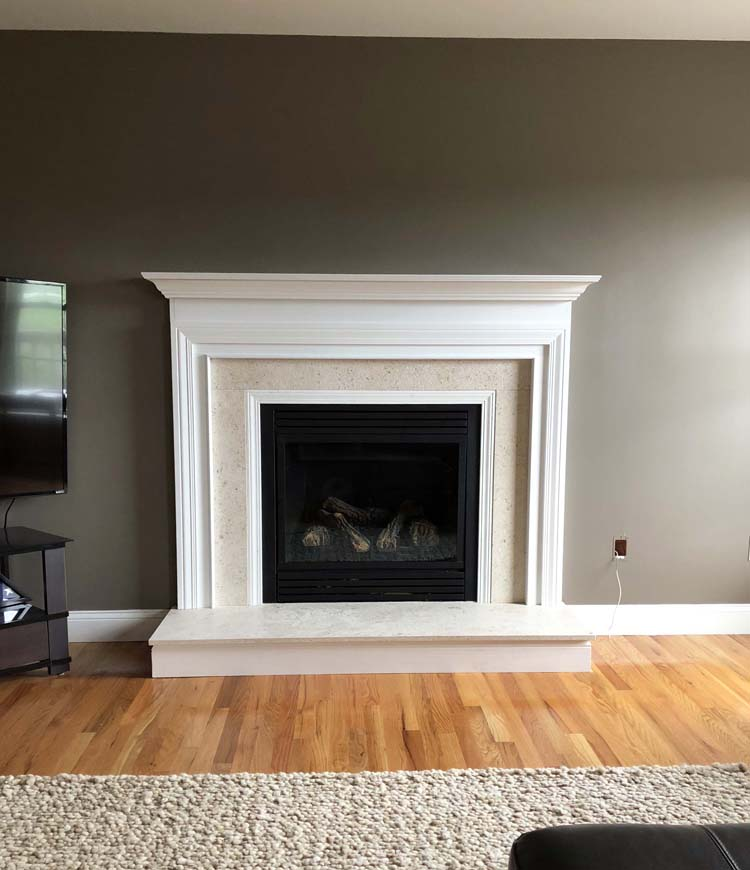 Limestone Wood Mantel Installation Marlborough NY